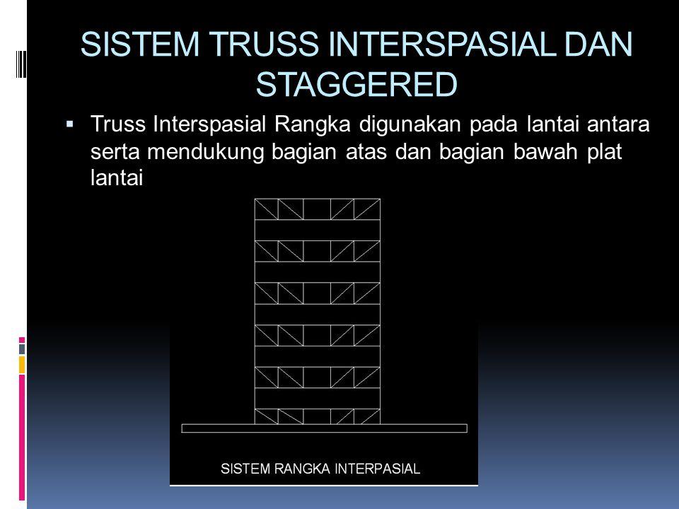 SISTEM TRUSS INTERSPASIAL DAN STAGGERED  Truss Interspasial Rangka digunakan pada lantai antara serta mendukung bagian atas dan bagian bawah plat lan
