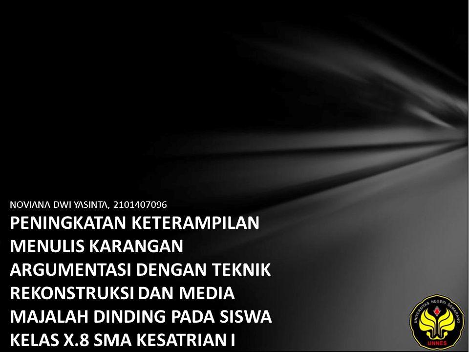 Identitas Mahasiswa - NAMA : NOVIANA DWI YASINTA - NIM : 2101407096 - PRODI : Pendidikan Bahasa, Sastra Indonesia, dan Daerah (Pendidikan Bahasa dan Sastra Indonesia) - JURUSAN : Bahasa & Sastra Indonesia - FAKULTAS : Bahasa dan Seni - EMAIL : Novia_oyoy pada domain yahoo.co.id - PEMBIMBING 1 : Drs.Wagiran,M.Hum.