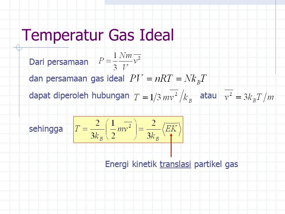Temperatur Gas Ideal Dari persamaan dan persamaan gas ideal dapat diperoleh hubunganatau sehingga Energi kinetik translasi partikel gas