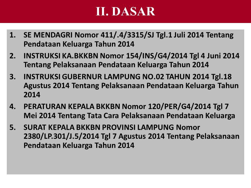 II. DASAR 1.SE MENDAGRI Nomor 411/.4/3315/SJ Tgl.1 Juli 2014 Tentang Pendataan Keluarga Tahun 2014 2.INSTRUKSI KA.BKKBN Nomor 154/INS/G4/2014 Tgl 4 Ju