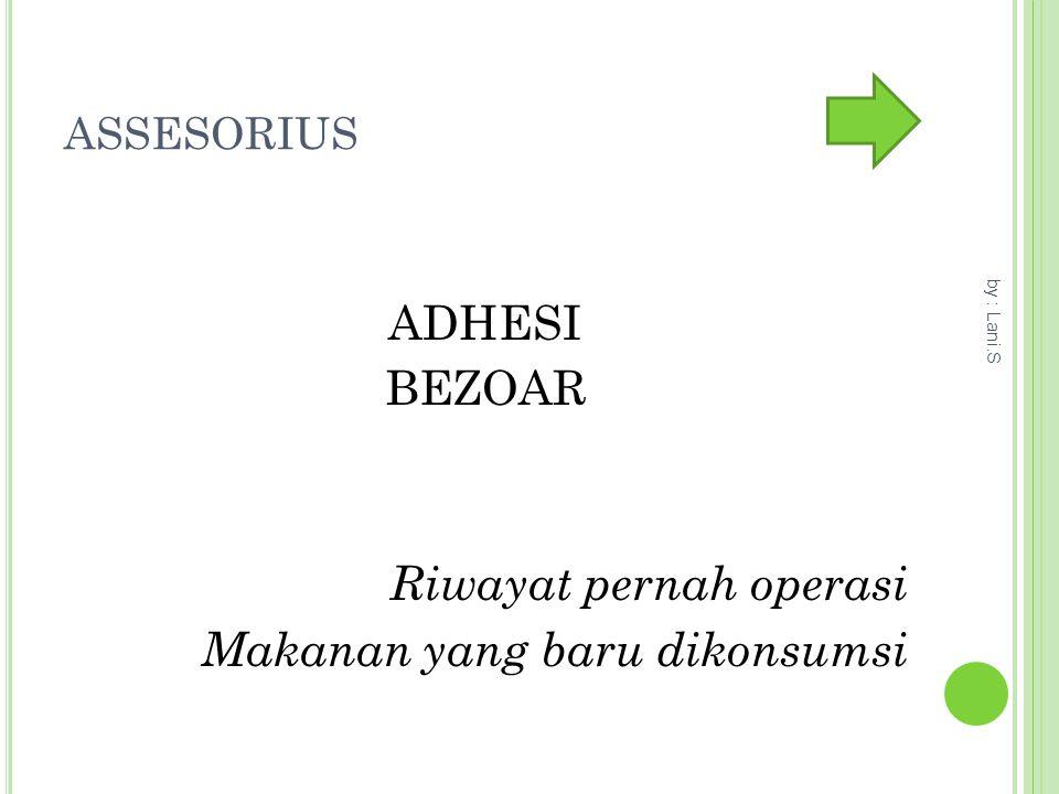 ASSESORIUS ADHESI BEZOAR Riwayat pernah operasi Makanan yang baru dikonsumsi by : Lani.S