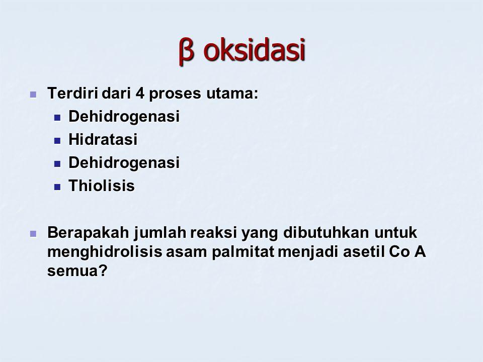 β oksidasi Terdiri dari 4 proses utama: Terdiri dari 4 proses utama: Dehidrogenasi Dehidrogenasi Hidratasi Hidratasi Dehidrogenasi Dehidrogenasi Thiol