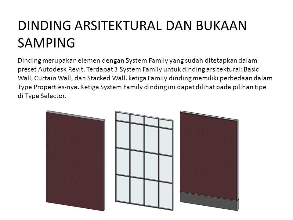 DINDING ARSITEKTURAL DAN BUKAAN SAMPING Dinding merupakan elemen dengan System Family yang sudah ditetapkan dalam preset Autodesk Revit. Terdapat 3 Sy