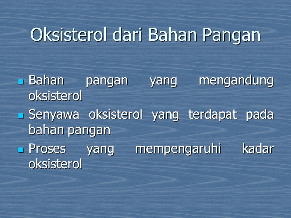 Oksisterol dari Bahan Pangan Bahan pangan yang mengandung oksisterol Bahan pangan yang mengandung oksisterol Senyawa oksisterol yang terdapat pada bah