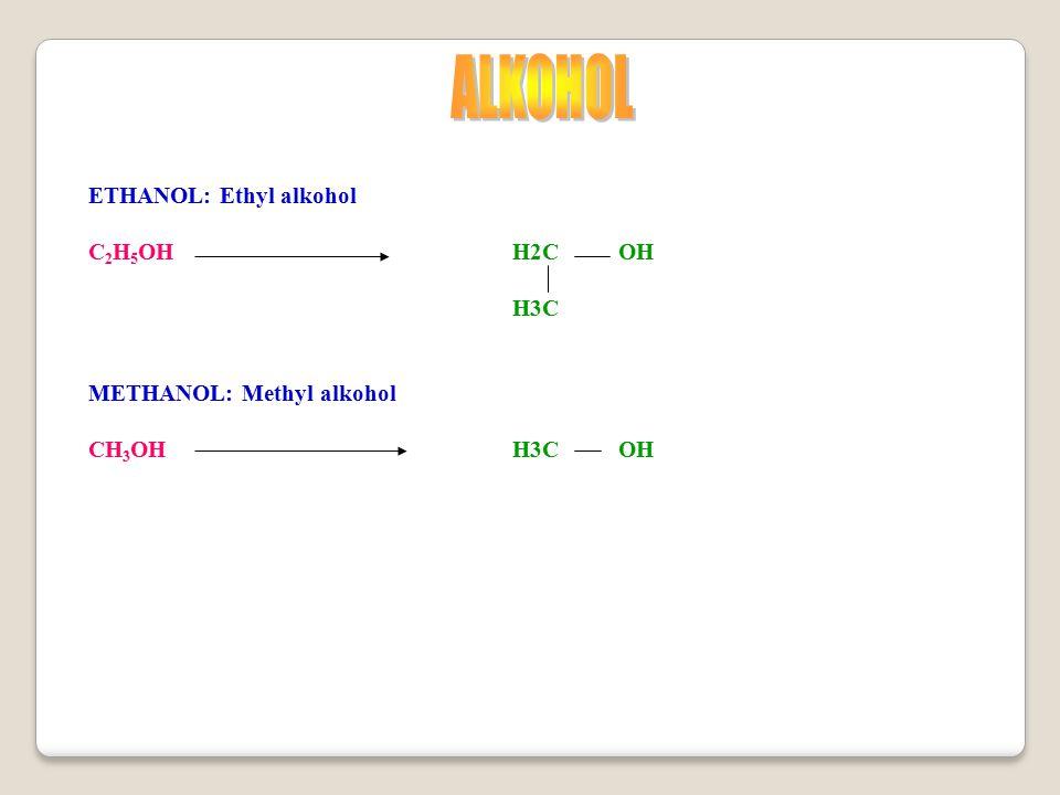 ETHANOL: Ethyl alkohol C 2 H 5 OHH2COH H3C METHANOL: Methyl alkohol CH 3 OHH3COH