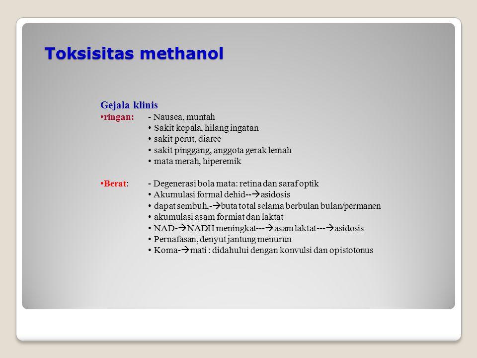 Toksisitas methanol Gejala klinis ringan:- Nausea, muntah Sakit kepala, hilang ingatan sakit perut, diaree sakit pinggang, anggota gerak lemah mata me