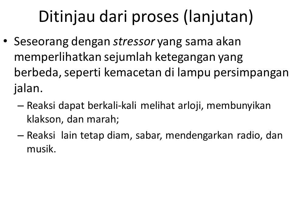 Ditinjau dari proses (lanjutan) Seseorang dengan stressor yang sama akan memperlihatkan sejumlah ketegangan yang berbeda, seperti kemacetan di lampu p