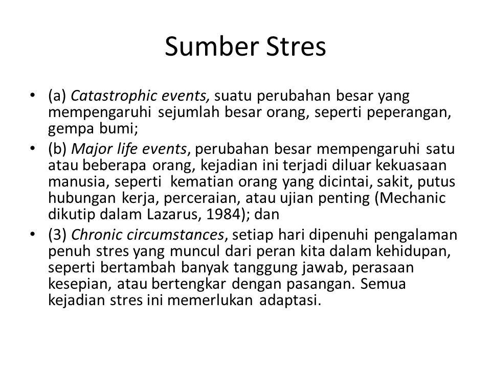 Sumber Stres (a) Catastrophic events, suatu perubahan besar yang mempengaruhi sejumlah besar orang, seperti peperangan, gempa bumi; (b) Major life eve