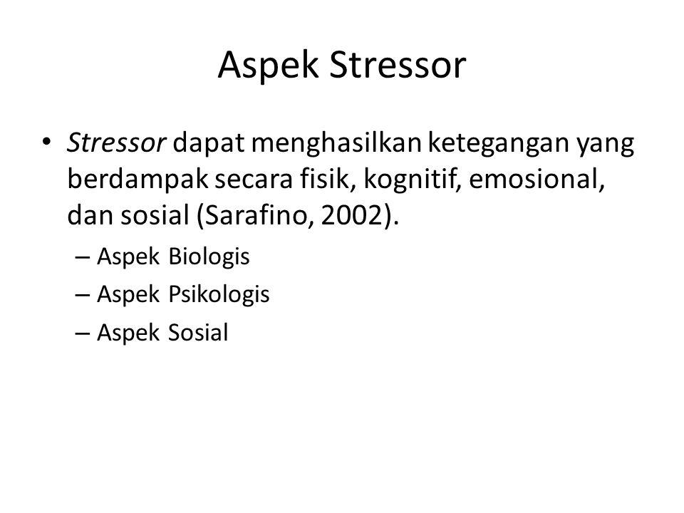 Aspek Stressor Stressor dapat menghasilkan ketegangan yang berdampak secara fisik, kognitif, emosional, dan sosial (Sarafino, 2002). – Aspek Biologis