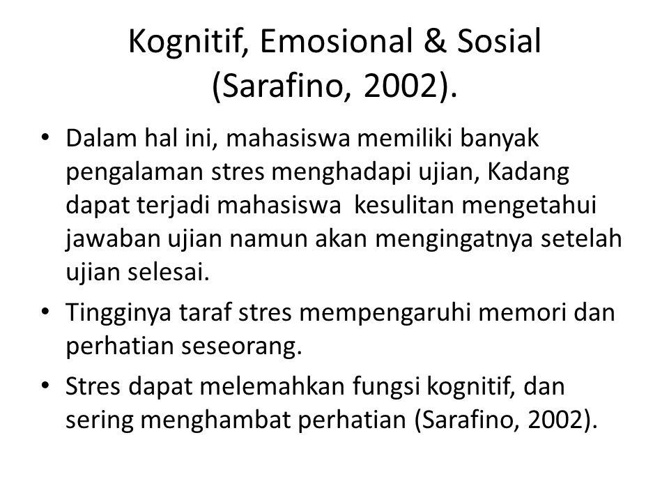 Kognitif, Emosional & Sosial (Sarafino, 2002). Dalam hal ini, mahasiswa memiliki banyak pengalaman stres menghadapi ujian, Kadang dapat terjadi mahasi