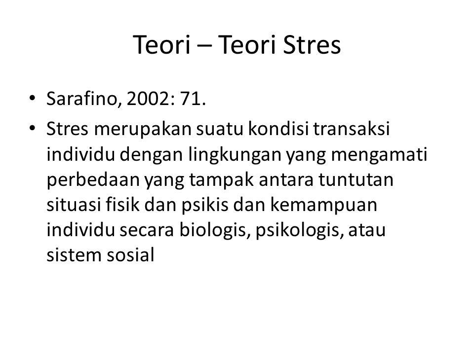 Teori – Teori Stres Sarafino, 2002: 71. Stres merupakan suatu kondisi transaksi individu dengan lingkungan yang mengamati perbedaan yang tampak antara