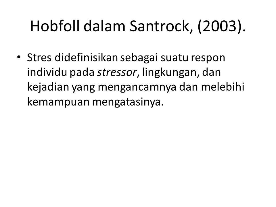 Hobfoll dalam Santrock, (2003). Stres didefinisikan sebagai suatu respon individu pada stressor, lingkungan, dan kejadian yang mengancamnya dan melebi