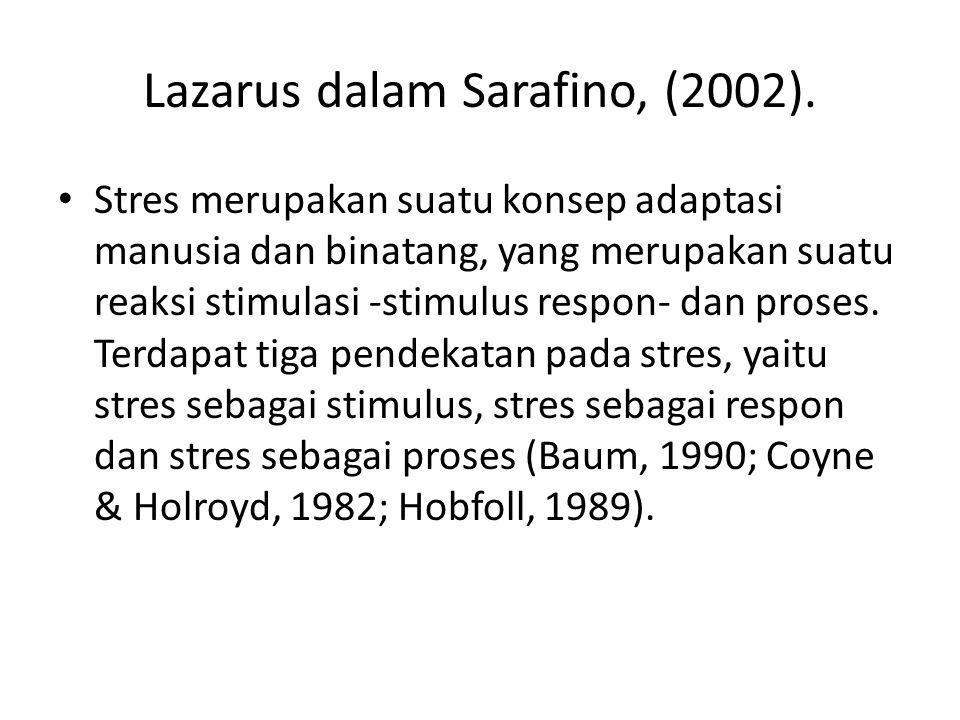 Lazarus dalam Sarafino, (2002). Stres merupakan suatu konsep adaptasi manusia dan binatang, yang merupakan suatu reaksi stimulasi -stimulus respon- da