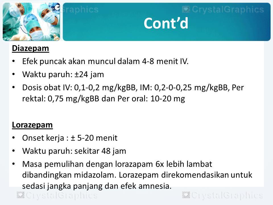 Analgesia Untuk mengurangi / menghilangkan nyeri.Obat yang digunakan adalah opioid kuat.