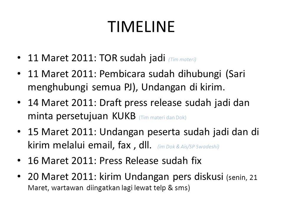 TIMELINE 11 Maret 2011: TOR sudah jadi (Tim materi) 11 Maret 2011: Pembicara sudah dihubungi (Sari menghubungi semua PJ), Undangan di kirim. 14 Maret