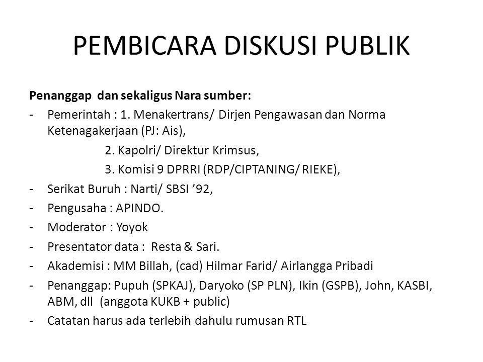 PEMBICARA DISKUSI PUBLIK Penanggap dan sekaligus Nara sumber: -Pemerintah : 1. Menakertrans/ Dirjen Pengawasan dan Norma Ketenagakerjaan (PJ: Ais), 2.