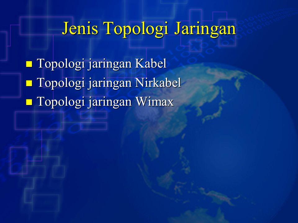 Jenis Topologi Jaringan Topologi jaringan Kabel Topologi jaringan Kabel Topologi jaringan Nirkabel Topologi jaringan Nirkabel Topologi jaringan Wimax