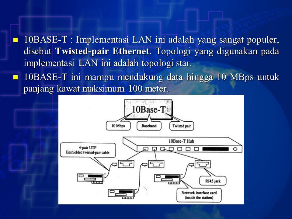 10BASE-T : Implementasi LAN ini adalah yang sangat populer, disebut Twisted-pair Ethernet. Topologi yang digunakan pada implementasi LAN ini adalah to