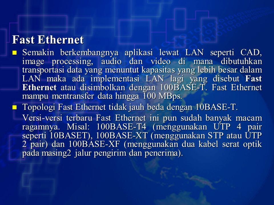 Fast Ethernet Semakin berkembangnya aplikasi lewat LAN seperti CAD, image processing, audio dan video di mana dibutuhkan transportasi data yang menunt