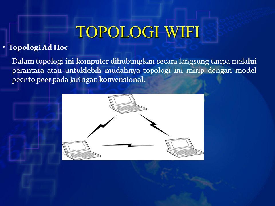 TOPOLOGI WIFI Topologi Ad Hoc Dalam topologi ini komputer dihubungkan secara langsung tanpa melalui perantara atau untuklebih mudahnya topologi ini mi
