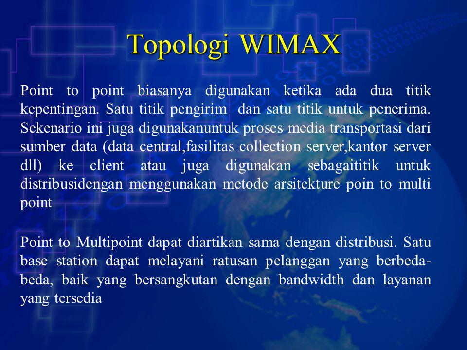 Topologi WIMAX Point to point biasanya digunakan ketika ada dua titik kepentingan. Satu titik pengirim dan satu titik untuk penerima. Sekenario ini ju