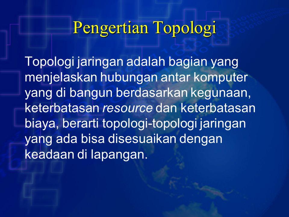 Pengertian Topologi Topologi jaringan adalah bagian yang menjelaskan hubungan antar komputer yang di bangun berdasarkan kegunaan, keterbatasan resourc