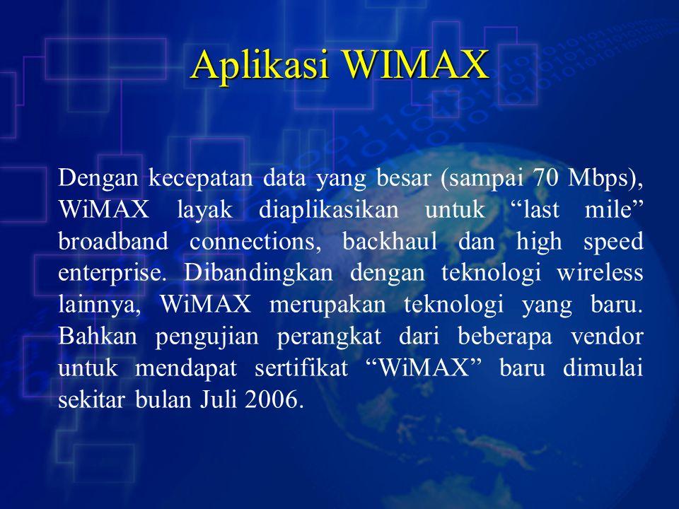 """Aplikasi WIMAX Dengan kecepatan data yang besar (sampai 70 Mbps), WiMAX layak diaplikasikan untuk """"last mile"""" broadband connections, backhaul dan high"""