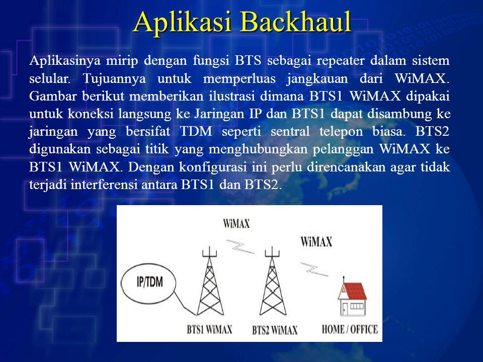 Aplikasi Backhaul Aplikasinya mirip dengan fungsi BTS sebagai repeater dalam sistem selular. Tujuannya untuk memperluas jangkauan dari WiMAX. Gambar b