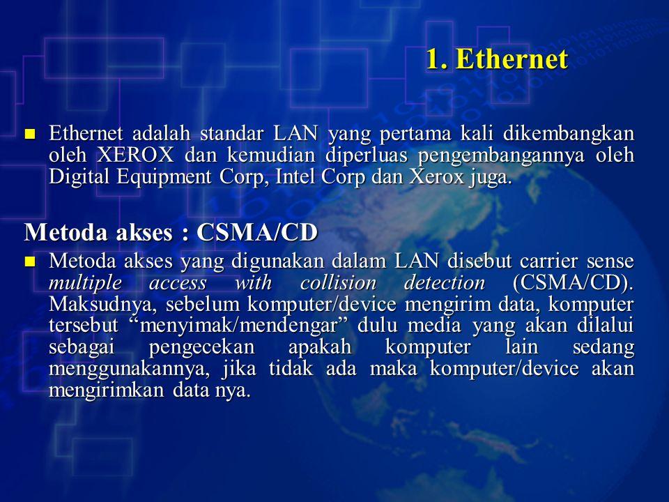 1. Ethernet Ethernet adalah standar LAN yang pertama kali dikembangkan oleh XEROX dan kemudian diperluas pengembangannya oleh Digital Equipment Corp,