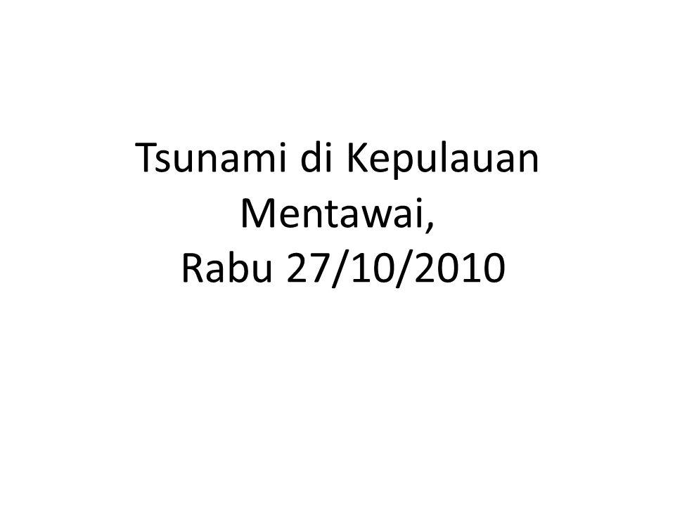 Kondisi Desa Pasapuat, Dusun Saumanganya, Kecamatan Pagai Utara, Kabupaten Kepulauan Mentawai pascagempa 7,2 SR disertai gelombang tsunami, Senin (27/10).