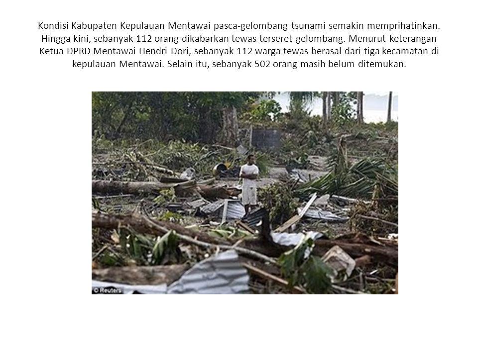 Kondisi Kabupaten Kepulauan Mentawai pasca-gelombang tsunami semakin memprihatinkan.