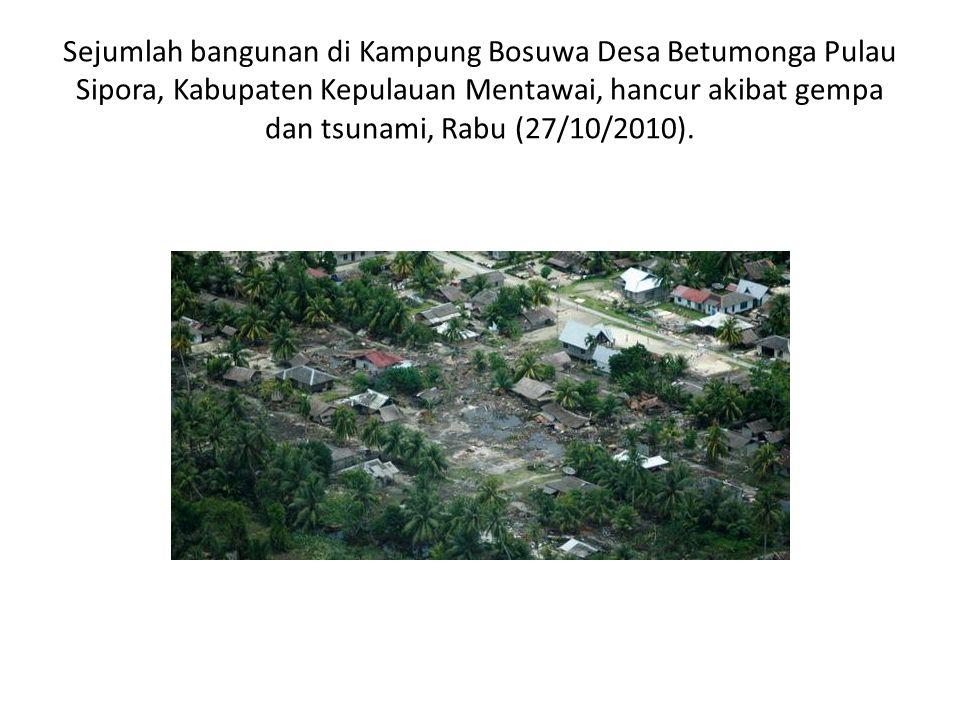 Sejumlah bangunan di Kampung Bosuwa Desa Betumonga Pulau Sipora, Kabupaten Kepulauan Mentawai, hancur akibat gempa dan tsunami, Rabu (27/10/2010).