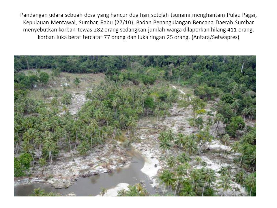 Pandangan udara sebuah desa yang hancur dua hari setelah tsunami menghantam Pulau Pagai, Kepulauan Mentawai, Sumbar, Rabu (27/10).