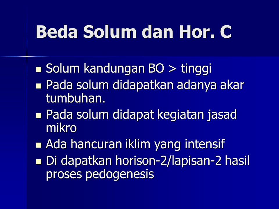 Beda Solum dan Hor. C Solum kandungan BO > tinggi Solum kandungan BO > tinggi Pada solum didapatkan adanya akar tumbuhan. Pada solum didapatkan adanya
