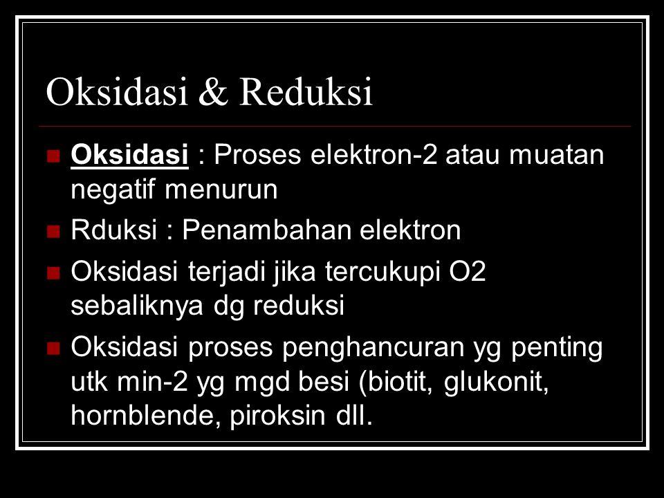 Oksidasi & Reduksi Oksidasi : Proses elektron-2 atau muatan negatif menurun Rduksi : Penambahan elektron Oksidasi terjadi jika tercukupi O2 sebaliknya