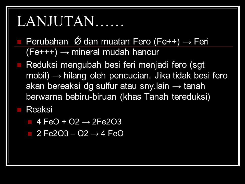LANJUTAN…… Perubahan Ǿ dan muatan Fero (Fe++) → Feri (Fe+++) → mineral mudah hancur Reduksi mengubah besi feri menjadi fero (sgt mobil) → hilang oleh