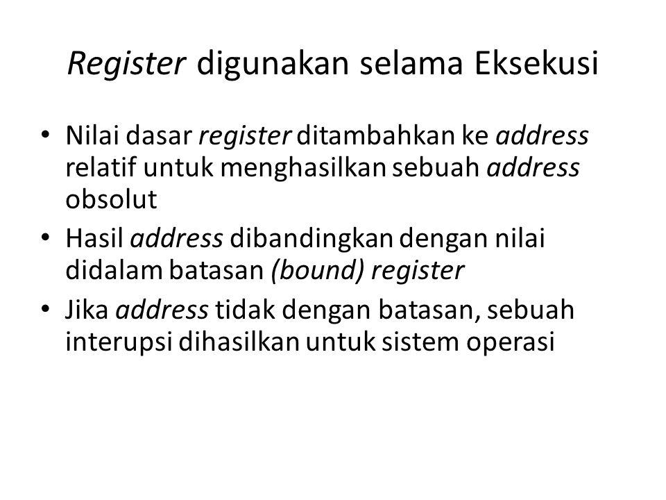 Register digunakan selama Eksekusi Nilai dasar register ditambahkan ke address relatif untuk menghasilkan sebuah address obsolut Hasil address dibandi