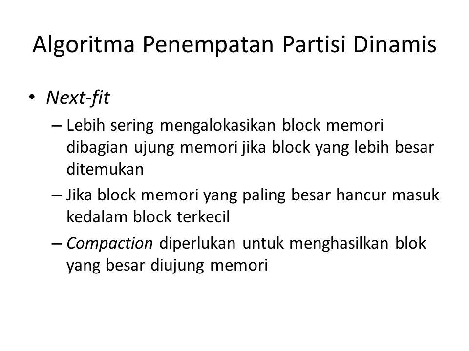 Algoritma Penempatan Partisi Dinamis Next-fit – Lebih sering mengalokasikan block memori dibagian ujung memori jika block yang lebih besar ditemukan –