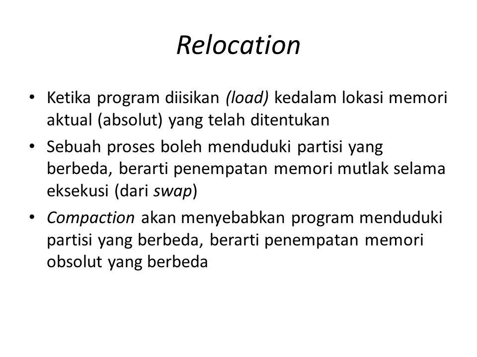 Relocation Ketika program diisikan (load) kedalam lokasi memori aktual (absolut) yang telah ditentukan Sebuah proses boleh menduduki partisi yang berb