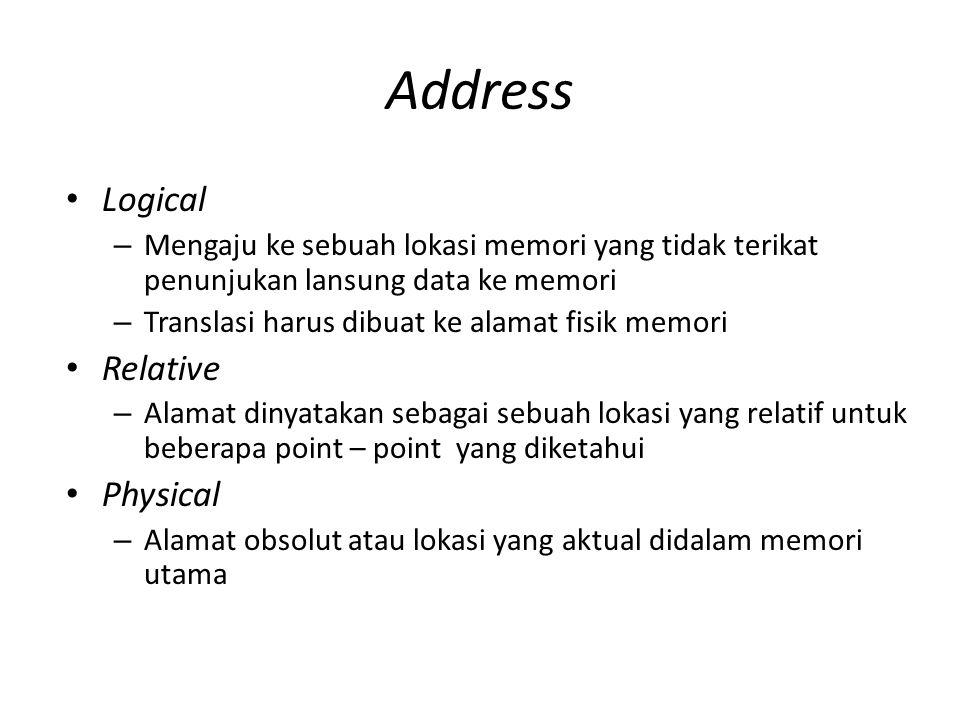 Address Logical – Mengaju ke sebuah lokasi memori yang tidak terikat penunjukan lansung data ke memori – Translasi harus dibuat ke alamat fisik memori