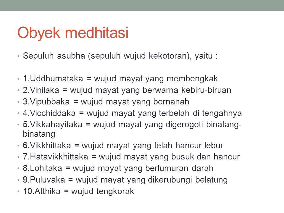 Obyek medhitasi Sepuluh anussati (sepuluh macam perenungan), yaitu : 1.Buddhanussati = perenungan terhadap Buddha 2.Dhammanussati = perenungan terhadap Dhamma 3.Sanghanussati = perenungan terhadap Sangha 4.Silanussati = perenungan terhadap sila 5.Caganussati = perenungan terhadap kebajikan 6.Devatanussati = perenungan terhadap makhluk-makhluk agung atau para dewa 7.Marananussati = perenungan terhadap kematian 8.Kayagatasati = perenungan terhadap badan jasmani 9.Anapanasati = perenungan terhadap pernapasan 10.Upasamanussati = perenungan terhadap Nibbana atau Nirwana