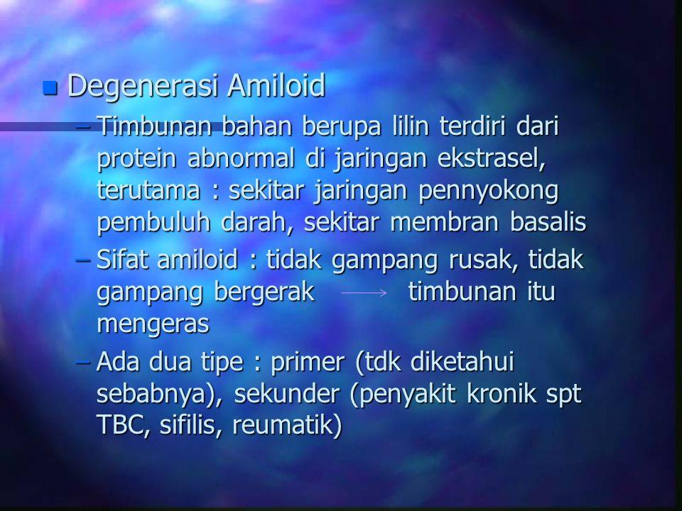 n Degenerasi Amiloid –Timbunan bahan berupa lilin terdiri dari protein abnormal di jaringan ekstrasel, terutama : sekitar jaringan pennyokong pembuluh