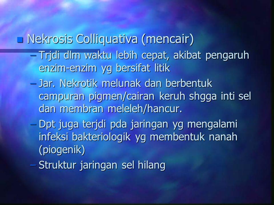 n Nekrosis Colliquativa (mencair) –Trjdi dlm waktu lebih cepat, akibat pengaruh enzim-enzim yg bersifat litik –Jar. Nekrotik melunak dan berbentuk cam