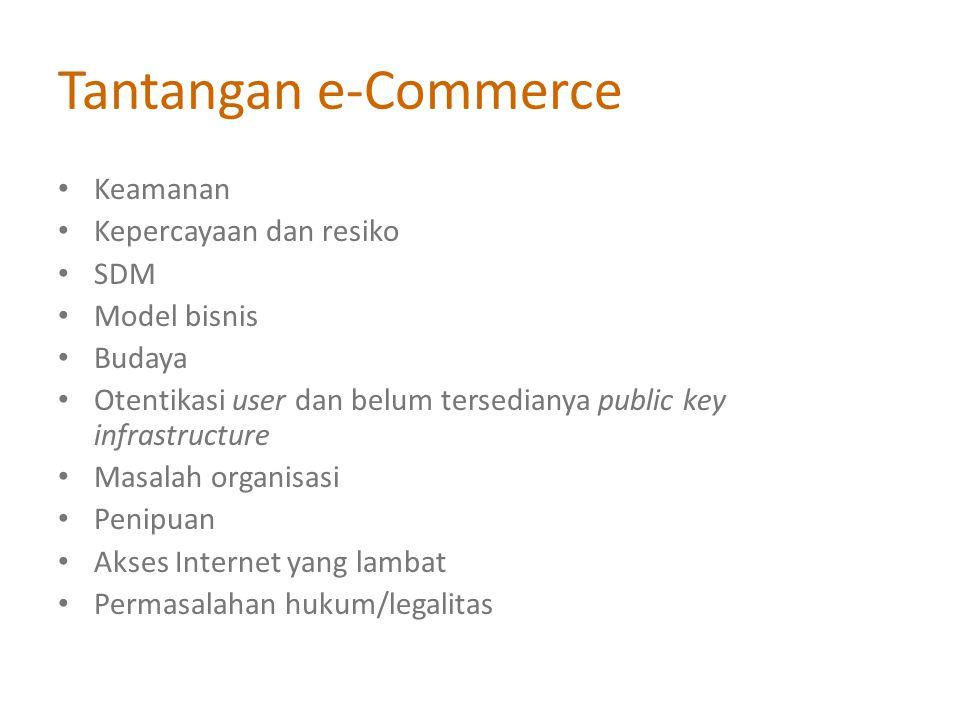 Tantangan e-Commerce Keamanan Kepercayaan dan resiko SDM Model bisnis Budaya Otentikasi user dan belum tersedianya public key infrastructure Masalah organisasi Penipuan Akses Internet yang lambat Permasalahan hukum/legalitas
