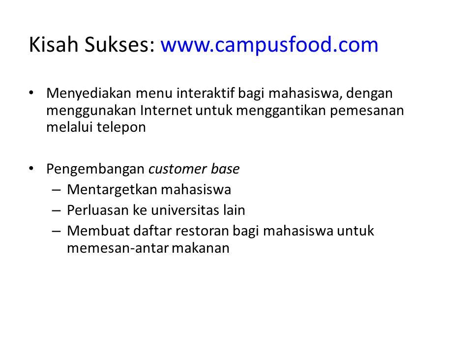 Kisah Sukses: www.campusfood.com Menyediakan menu interaktif bagi mahasiswa, dengan menggunakan Internet untuk menggantikan pemesanan melalui telepon Pengembangan customer base – Mentargetkan mahasiswa – Perluasan ke universitas lain – Membuat daftar restoran bagi mahasiswa untuk memesan-antar makanan