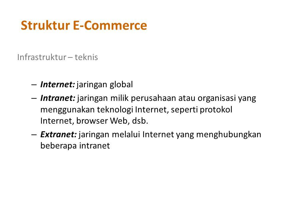 Struktur E-Commerce Infrastruktur – teknis – Internet: jaringan global – Intranet: jaringan milik perusahaan atau organisasi yang menggunakan teknologi Internet, seperti protokol Internet, browser Web, dsb.