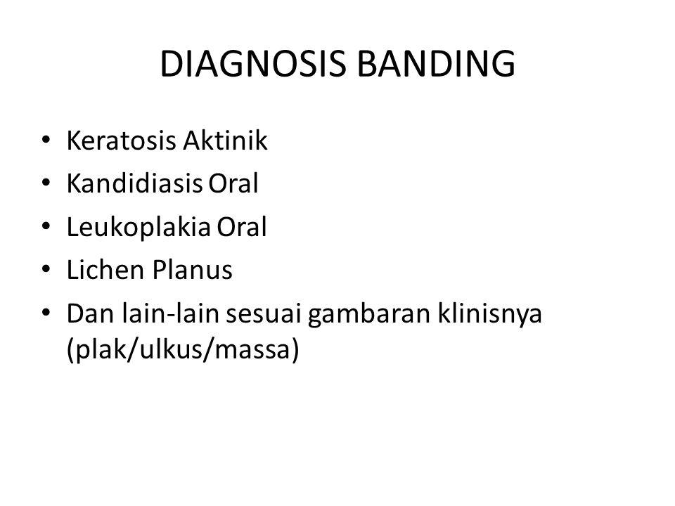 DIAGNOSIS BANDING Keratosis Aktinik Kandidiasis Oral Leukoplakia Oral Lichen Planus Dan lain-lain sesuai gambaran klinisnya (plak/ulkus/massa)