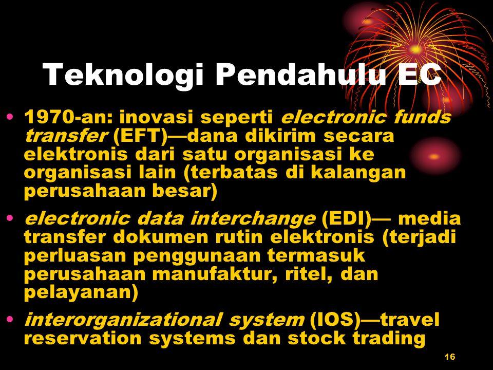 16 Teknologi Pendahulu EC 1970-an: inovasi seperti electronic funds transfer (EFT)—dana dikirim secara elektronis dari satu organisasi ke organisasi l