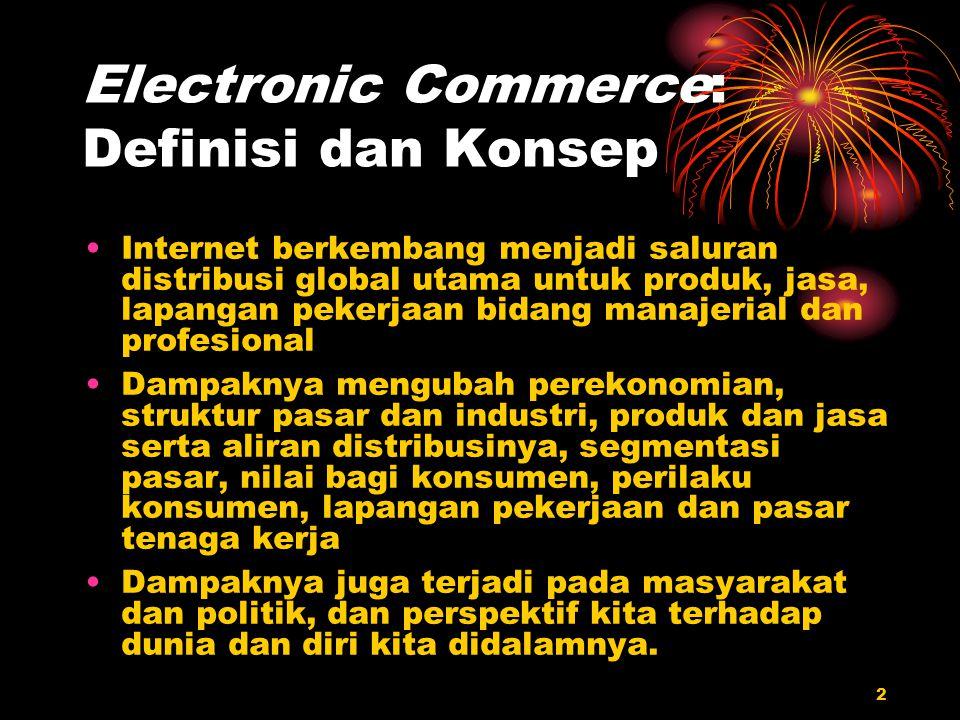 2 Electronic Commerce: Definisi dan Konsep Internet berkembang menjadi saluran distribusi global utama untuk produk, jasa, lapangan pekerjaan bidang m