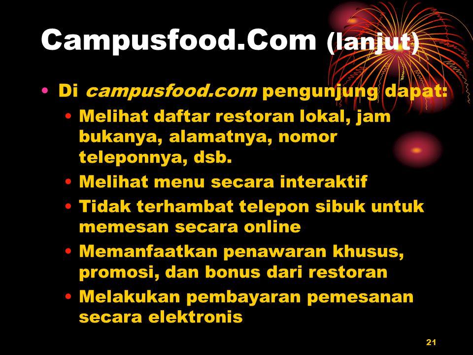 21 Campusfood.Com (lanjut) Di campusfood.com pengunjung dapat: Melihat daftar restoran lokal, jam bukanya, alamatnya, nomor teleponnya, dsb. Melihat m